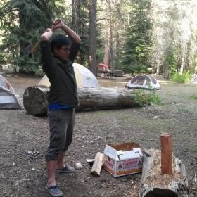 Marco chopping wood
