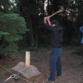 Ash chopping wood